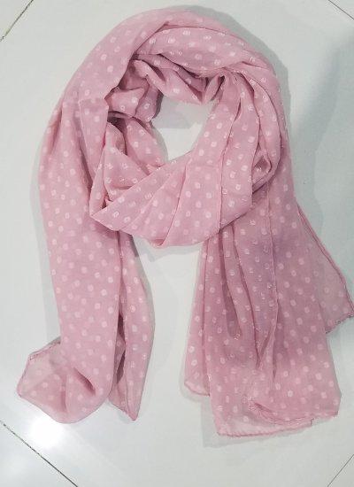 Chiffon Polka Dots Scarf - Dirty Pink