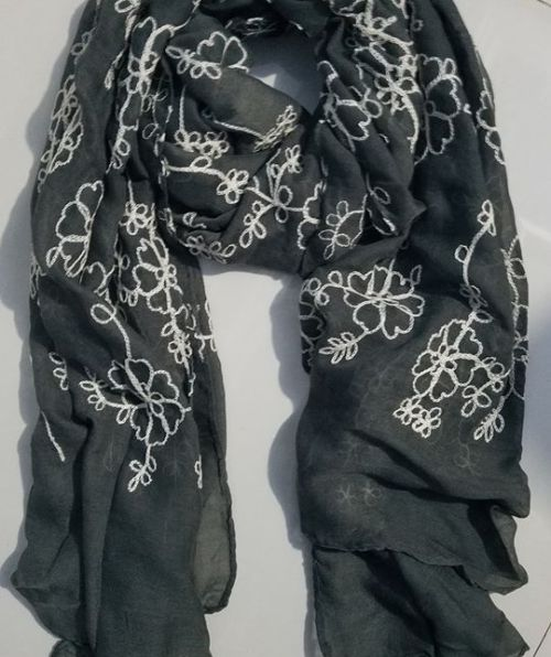 Embroidered Lawn Scarf - Smoke Grey - Full Picture