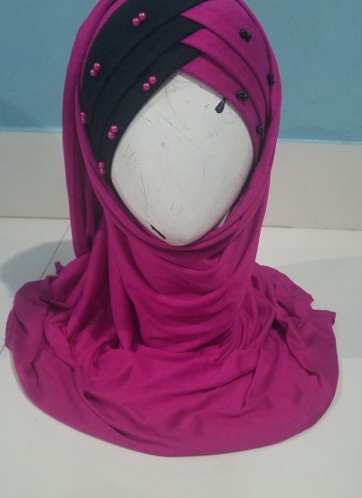 Criss Cross Instant Hijab with Pearls - Pink - Front Picture