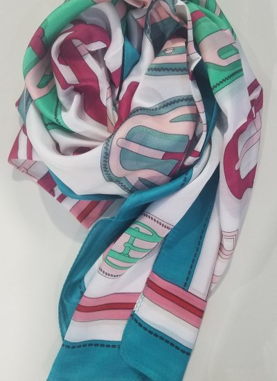 Printed Silk Scarf - Morning Glory - Full Picture