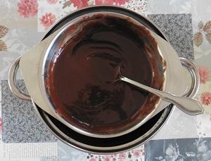 Chocolade taart eiwit melk en pure chocolade met boter gesmolten