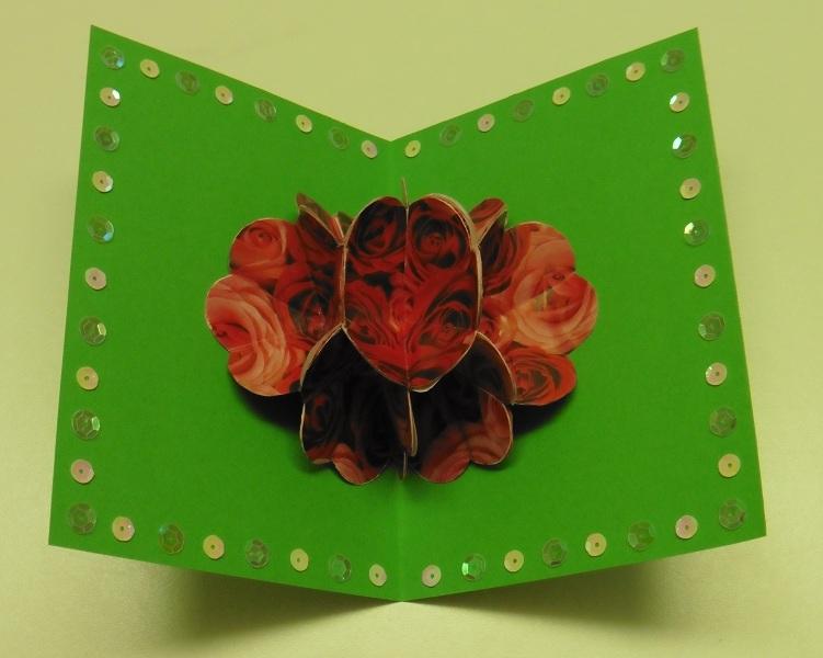 pop up kaart rozenboeket