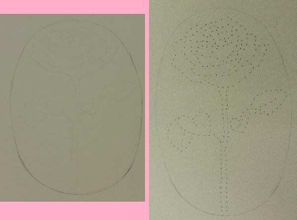 roos-borduren-met-kraaltjes-roos-tekening-met-gaatjes