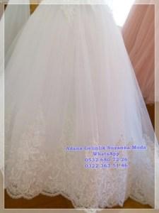2019 Gelinlik Modelleri Hayal tül prenses gelinlik etek ucu kalın dantelle süslenmiş