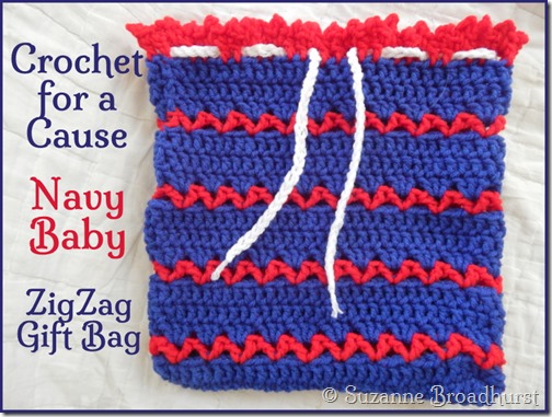 Crochet For A Cause Navy Baby Ditty Diaper Bag In Zigzag Stitch