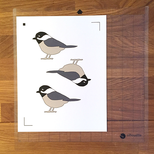 Printed sheet ready to cut for the Black Capped Chickadee garland