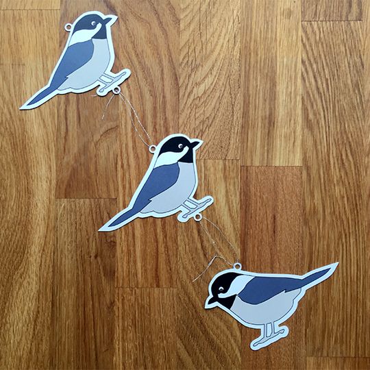 Black Capped Chickadees strung together for a print & cut garland