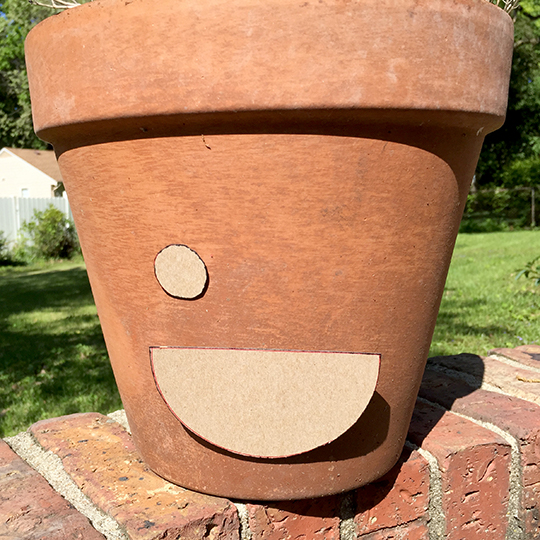 Template on the pot to make the happy planter
