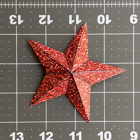 folded and scored star for glitter star wreath