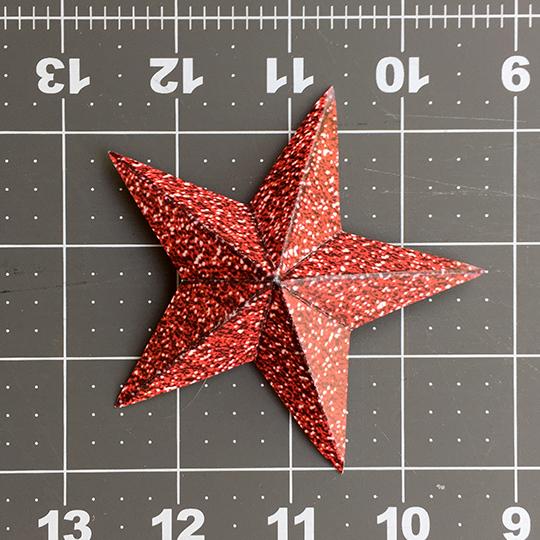 folded and scored star for glitter star wreath