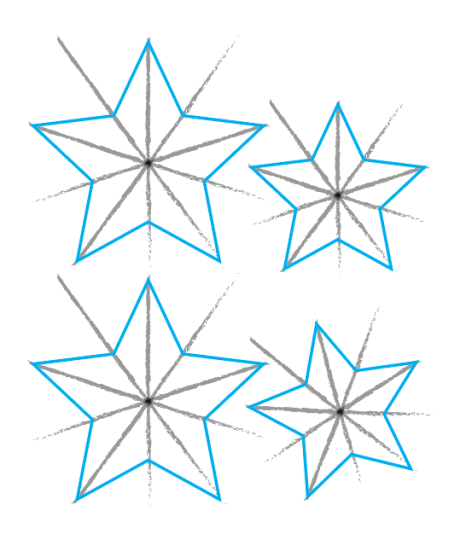 Stars with shading for a glitter star wreath
