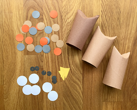 Cut pieces to assembly little owls