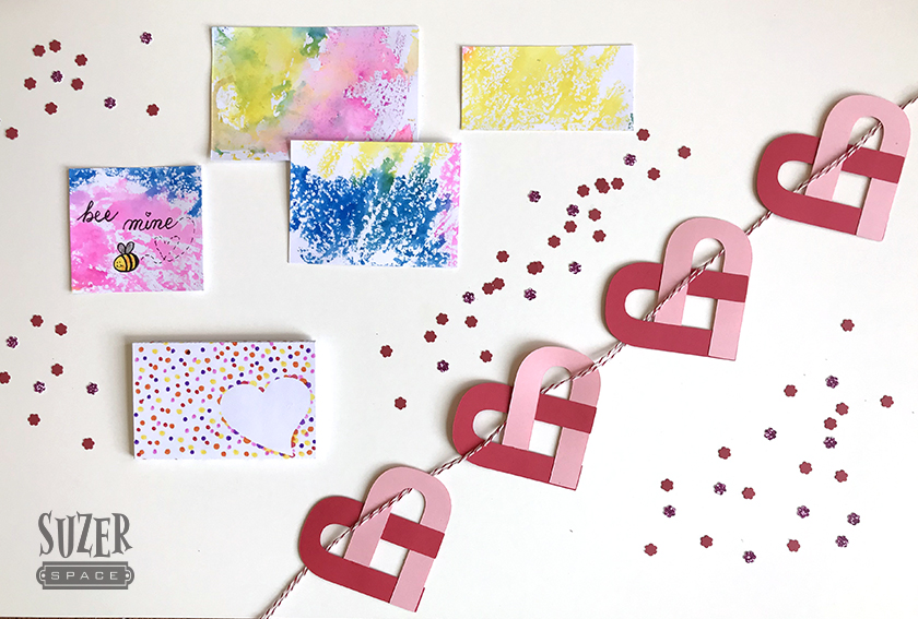 Three great projects for Valentine's Day - faux watercolor, typographic heart garlands and a polka dot gift card holder | SuzerSpace.com