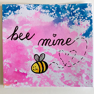 Faux watercolor and doodling create a punny Valentine's Card! | suzerspace.com