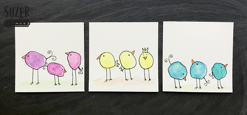 Watercolor blobs become birds (or beasts) with just a few quick strokes of a black pen | suzerspace.com