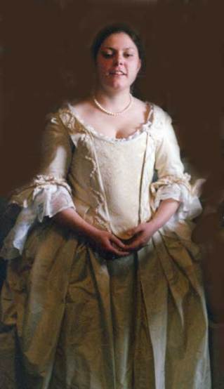 Becky in 18th century wedding dress