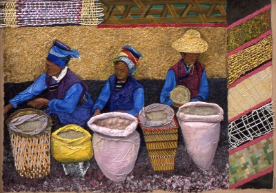Three women with their baskets