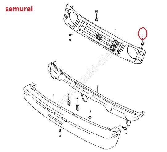 Plastová príchytka prednej masky Samurai / Vitara