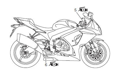 Suzuki GSX-R 1000 Service Manual: Lubrication points