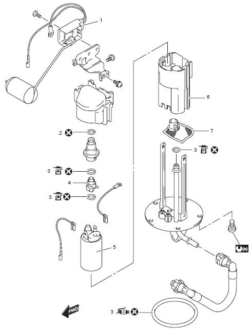 Suzuki GSX-R 1000 Service Manual: Fuel pump components