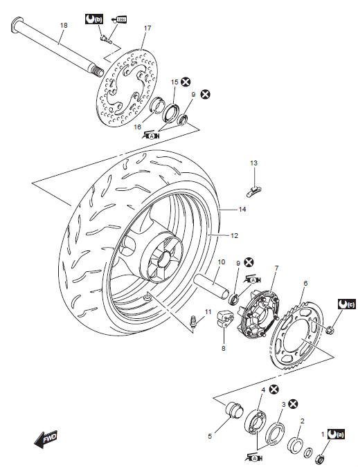 Suzuki GSX-R 1000 Service Manual: Rear wheel components