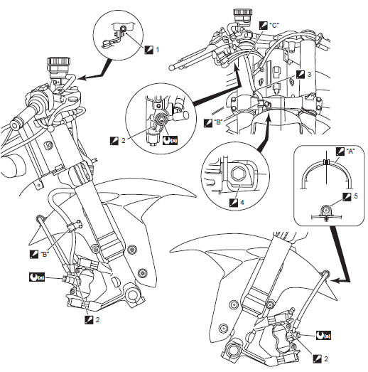 Suzuki GSX-R 1000 Service Manual: Front brake hose routing
