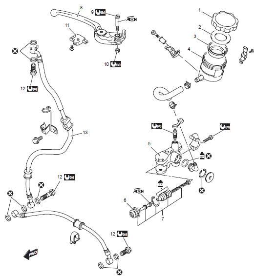 Suzuki GSX-R 1000 Service Manual: Front brake master
