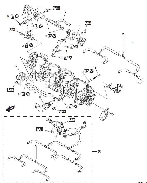 Suzuki GSX-R 1000 Service Manual: Throttle body components