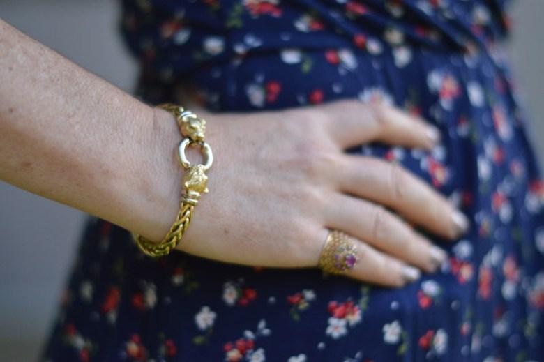 Floral dress and jeans bracelet