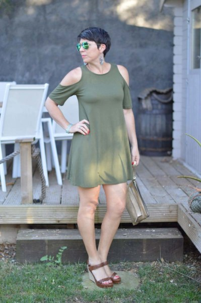 Khaki cut-out dress