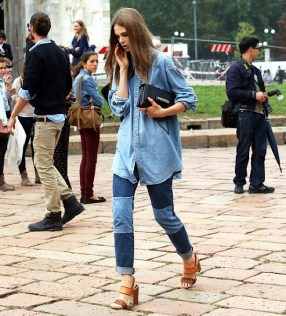 Denim chambray with patched and checkered jeans