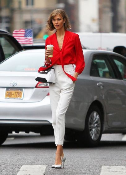 karlie kloss pussy bow blouse coffee