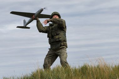 TRANSBAIKAL TERRITORY, RUSSIA – SEPTEMBER 13, 2018: Releasing an unmanned aerial vehicle during the main stage of the Vostok 2018 large-scale military exercise held by the Russian Armed Forces and involving troops from China and Mongolia, at the Tsugol range. Vadim Savitsky/Russian Defence Ministry Press Office/TASS, Image: 386584144, License: Rights-managed, Restrictions: , Model Release: no, Credit line: Profimedia, TASS