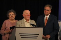 Tom and Ann Bizzell accepting the Lifetime Service Award.