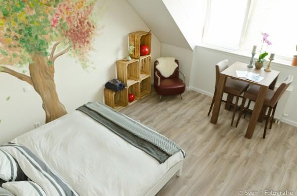 the loft, amsterdam, noord, appletree, bnb, B&B, Frans, Elien, slapen, sleep, spacious, king size bed,