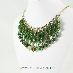Christmas Necklace featuring handmade glass beads and bead-woven components