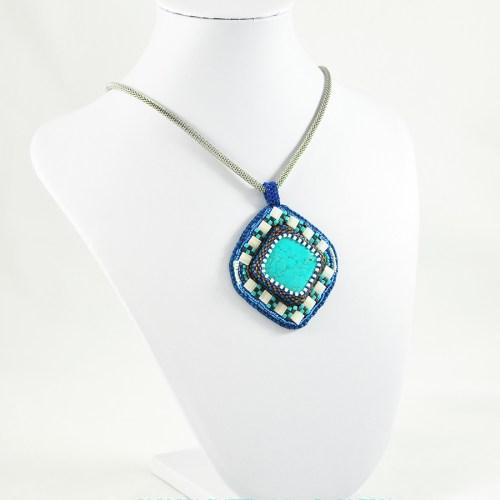 Tile Pendant Custom Bead Embroidery