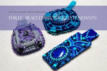 3 Bead Embroidered Pendants - Design Laboratory