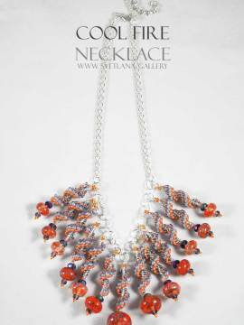Cool Fire Necklace - handmade glass and seed beads.