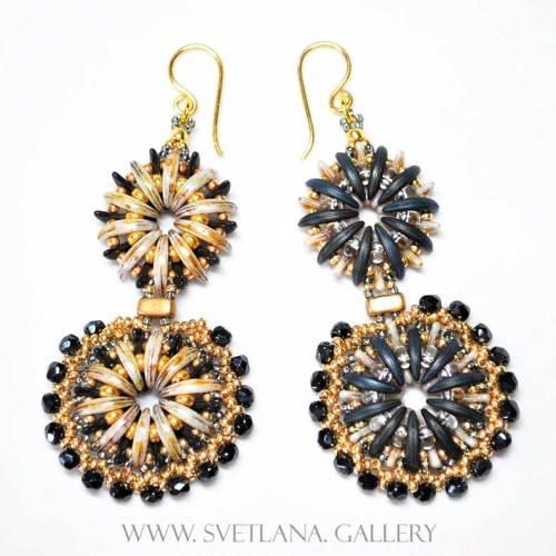 """Fancy Earrings """"Water Flower"""" Gold Version"""