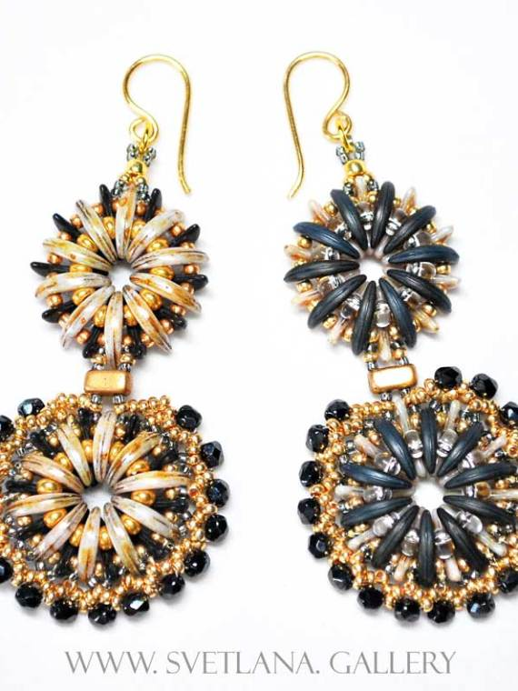 "Fancy Earrings ""Water Flower"" Gold Version"