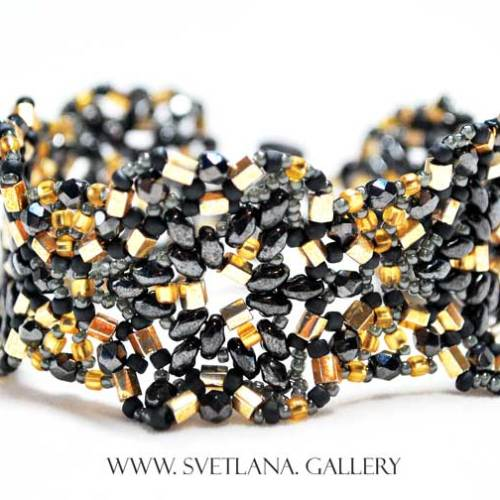 Largo Bracelet Bead Pattern - Hematite and Gold version - Svetlana.gallery