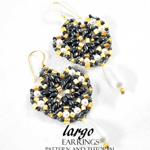 Largo Earrings Bead Pattern And Tutorial - Hematite And Gold Version