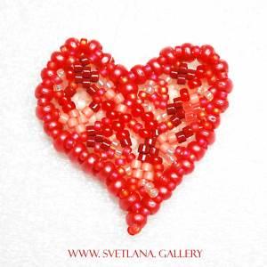 Beaded Heart Pendant: Mini Duos And Freeform Beadweaving Technique Explored - www.Svetlana.Gallery
