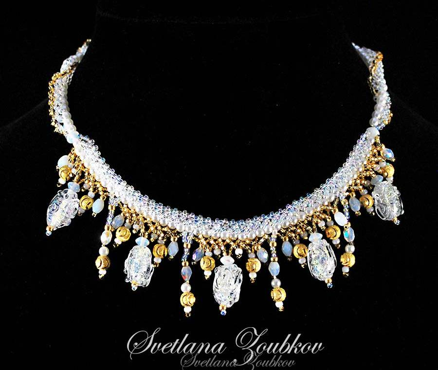 Bridal Necklace with Handmade Glass Beads - Designed by Svetlana