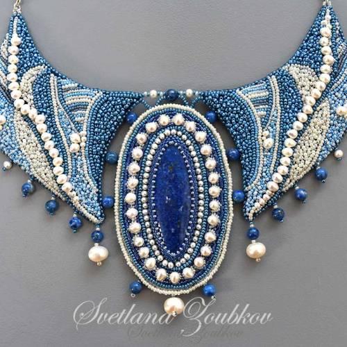 Denim Bay Necklace Bead Embroidery by Svetlana Zoubkov