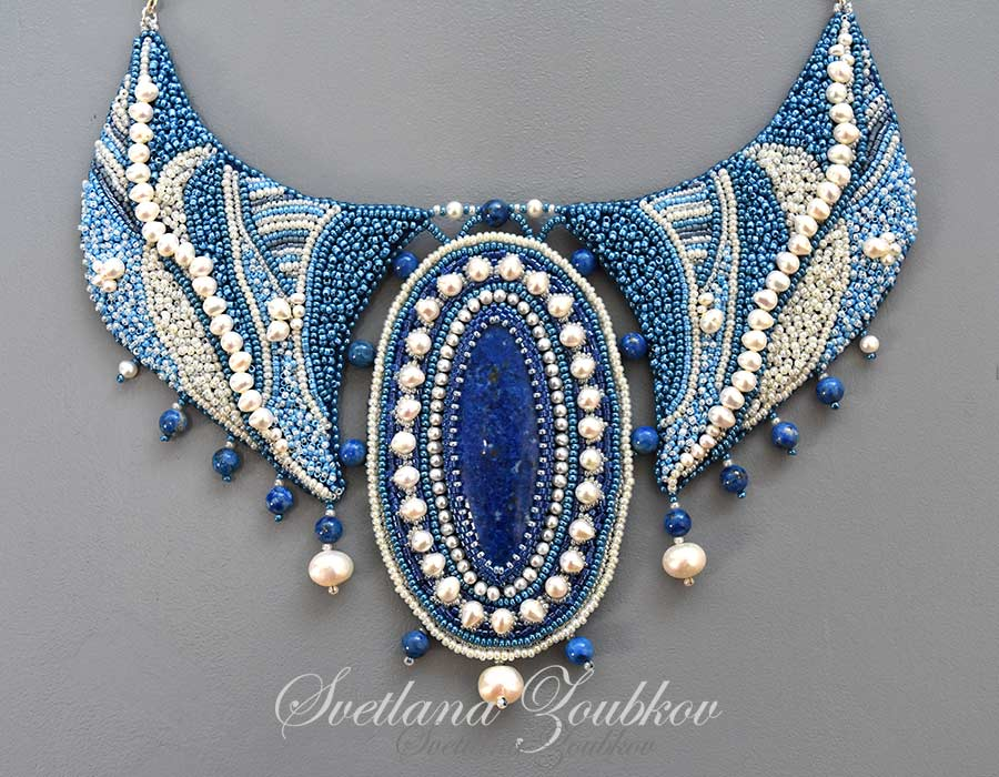 Denim Bay Necklace Bead Embroidery by Svetlana Zoubkov