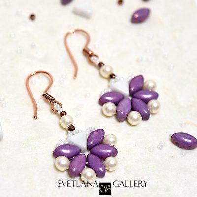 Earrings With IrisDuo Beads Free Beading Pattern Tutorial