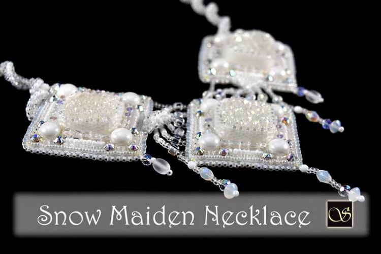 Snow Maiden Bead Embroidered Necklace - Svetlana.Gallery necklace design