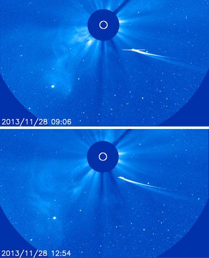Pad sjaja komete ISON na snimku od 13:54h u odnosu na snimak u 10:06h (Credit: NASA / SOHO)